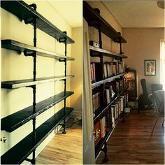 We love it when our clients send us photos of our pieces once they've had a chance to do their thing with them. This 9' Jilly's Wood Pipe Shelf is highly functional as a book shelf in Dr. Jesse's home office.  #reclaimedwood #woodrescue #woodhunters #woodlife #jillyswood #jillys #broadviewhotel #stripclub #stripclubwood #salvage #recycle #toronto #custom #wood #rustic #industrial #bookshelf #pipe #pipefurniture #pipeshelf by breadandbutter.to