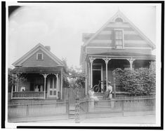 African American boy seated on porch of house, another African American boy standing with bicycle on porch of another house, with two young African American women on steps, Georgia. Folk Victorian, Victorian Cottage, Victorian Homes, Victorian Life, American Photo, American Life, African American Women, African Americans, African American History