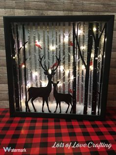 Deer lighted shadow box 8x8 Night light christmas decor