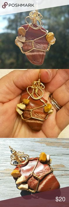 Boho, Earthy Striped Jasper Crystal Pendant This is a beautiful piece of striped Jasper that I wrapped using brass wire, adding Mookaite Jasper beads. Includes cord.  Jasper is a very grounding, earthy stone, said to be very protective and nurturing, helping one to achieve a sense of balance. Thank you for stopping by my boutique,  and feel free to make an offer, or bundle your likes and I will send you a private discount! InspiredJenstones Jewelry