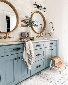 Jack And Jill Bathroom, Blue Cabinets, Large Cabinets, Bathroom Renos, Master Bathroom, Lake House Bathroom, Paint Bathroom, Mirror Bathroom, Remodel Bathroom