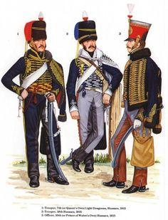 Ussaro del 7 rgt. dragoni leggeri, tromba del 18 rgt. ussari e ufficiale del 10 rgt. ussari inglesi