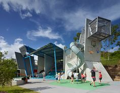 Frew Park Arena Play Structure by Guymer Bailey Architects / 2015 Hayes & Scott Award for Small Project Architecture / Photography by Scott Burrows Architecture Awards, Futuristic Architecture, Amazing Architecture, Landscape Architecture, Landscape Design, Architecture Design, Playground Design, Outdoor Playground, Children Playground