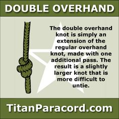 The Double Overhand Knot is simply a logical extension of the regular overhand knot, made with one additional pass. The result is slightly larger and more difficult to untie. It forms the first part of the surgeon's knot and both sides of a double fisherman's knot.