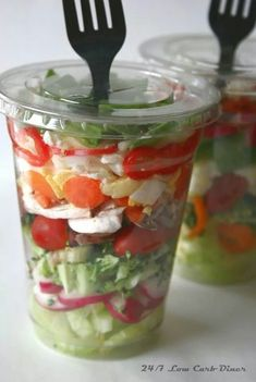 Pre-made salads in plastic cups - forks included!  I'm saving this for the picture, not the recipe.  This is great idea for our lunch on our road trip.