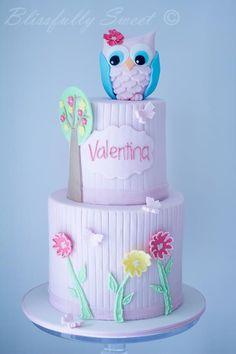 Owl 1st Birthday Cake by Blissfully Sweet