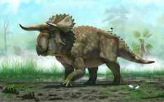 """Nasutoceratops titusi, a """"Cow-horned Giant"""".  (Not really, it was only about the Size of a large Bison. But, ah, Frickin' Well.)"""