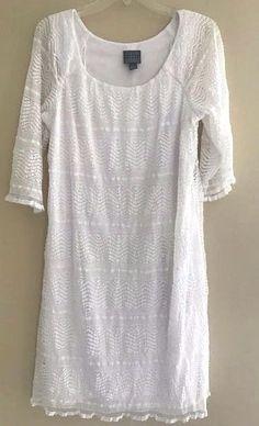 RABBIT RABBIT RABBIT WHITE LACE SHEATH DRESS WOMEN'S SIZE 12/14 #RabbitDesigns #Sheath #lace #white #dresses #vacation #summer #beach #ebay #bargains #cute #wedding #bride #mothersday