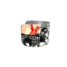 Christmas Presents - Punk Rock Posters - Collage Art - Aluminum Music Jewelry - Cuff Bracelet - Punk Rock - Hard Core - Sku R17-003