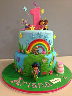 Dora the Explorer cake for a 1st Birthday party.