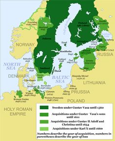 Treaty of Stettin (1653) - Swedish Pomerania (Vorpommern) within the Swedish Empire (green). The dates indicate the year Sweden acquired and lost (in brackets) the respective territories.