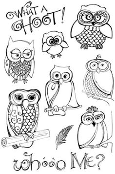 Owls-Hoot-Clear-Unmounted-Rubber-Stamps-Set-Impression-Obsession-Zenspirations