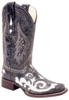 Ladies Cowboy Boots Corral Boots Vintage Goat Bone Lizard Overlay Square Toe!