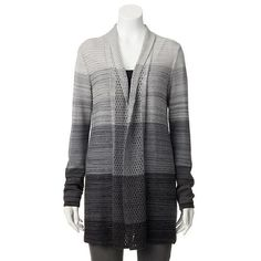 daisy fuentes® Striped Open-Front Cardigan - Women's