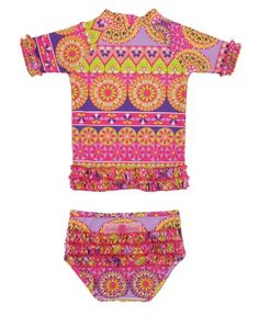 For winter beach vaca. RuffleButts Divali Ruffled Rash Guard Bikini | www.RuffleButts.com