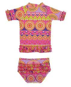 For winter beach vaca. RuffleButts Divali Ruffled Rash Guard Bikini   www.RuffleButts.com