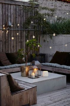 Really liking this idea instead of a patio table and chairs. More informal and cozy.