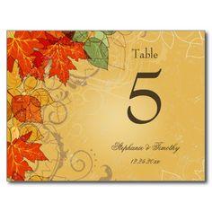 Vintage gold fall leaves wedding table number postcards