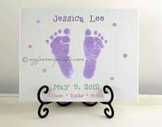 Newborn Announcement. ($54.99)    Handprint and Footprint Pottery Keepsake.