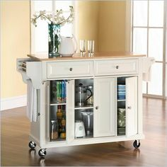 Crosley Furniture Natural Wood Top Kitchen Cart in White Finish - I put it together myself, great for craft organization!