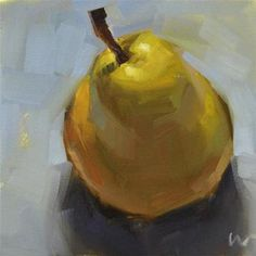 """Daily Paintworks - """"Just a Pear 1 --- SOLD"""" - Original Fine Art for Sale - © Carol Marine New Fruit, Fruit Art, Still Life Fruit, Fruit Painting, Painting Canvas, Painting Gallery, Art Gallery, Daily Painters, Art Original"""