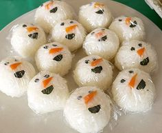 スノーマンおにぎり 雪だるま クリスマスパーティー料理 キッズパーティー演出