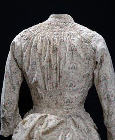 1878-1880 Printed Cotton Sateen Seaside Dress.