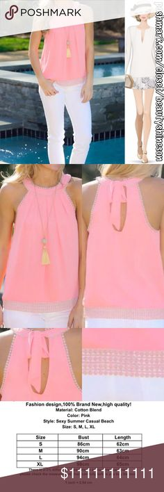 *Last One* Pretty In Pink Sleeveless Top New, chiffon cotton blend, cool & comfortable summer top. Perfect for an evening out at home or packed & ready for the beach! No Trade. ✨Notice: All products are free from any detectable defects by me unless otherwise stated. All products are sold as is & without refunds or returns.✨ Prices firm on all Retail & NWT items. No offers accepted. Boutique Tops Blouses