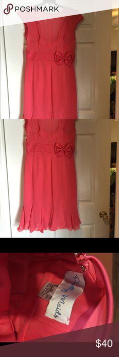 New Fishtail Hem Dress Coral Illusion Neckline, NWOT Pretty Maids Dresses Midi