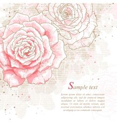Romantic background with pink roses vector 2202201 - by jetFoto on VectorStock®