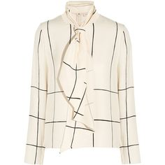 Tory Burch Pussy-bow printed silk blouse ($195) ❤ liked on Polyvore featuring tops, blouses, bow neck blouse, silk blouse, white silk blouse, white top and white blouse