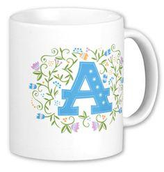 Monogrammed Mugs from Julie Bluet. A perfect gift for a teacher, colleague or friend! www.juliebluet.com