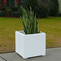 plain, simple square planters for outdoors in white