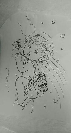 Baby Girl Drawing, Girl Drawing Sketches, Cute Drawings, Flower Coloring Pages, Colouring Pages, Graffiti Lettering Alphabet, Mother Daughter Art, Hand Embroidery Patterns Flowers, Elephant Coloring Page