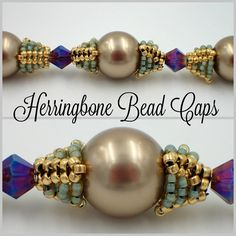 Herringbone Bead Caps  #Seed #Bead #Tutorials                                                                                                                                                      More