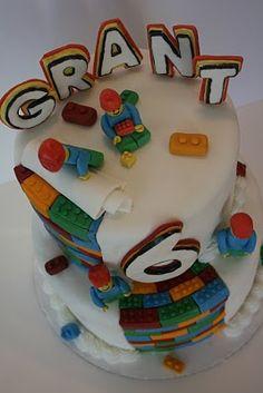 Lego cake -- looks like its made of Legos inside!