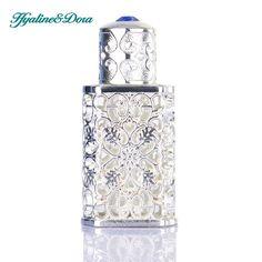 Zilveren Vrouwen Parfumflesje Antiqued Stijl Retro Hollow Bloem Ingelegd Met Blauw glas Lege Container Bruiloft decoratie