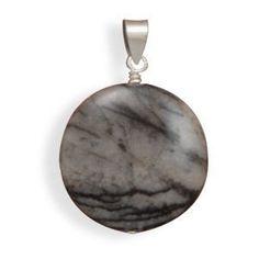Black and White Jasper Charm Pendant  Jewelry  by jewelrymandave