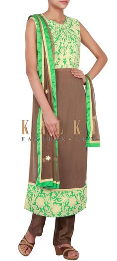 Buy Online from the link below. We ship worldwide (Free Shipping over US$100) http://www.kalkifashion.com/catalog/product/view/id/14837/s/green-and-brown-suit-embellished-in-thread-only-on-kalki/