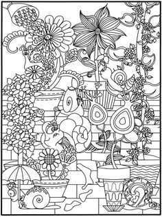 flower and snails coloring page