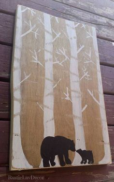 Rustic Bear painting/ Hand painted Bear Nursery by RusticLuvDecor