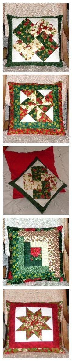 Almofadas com motivos de Natal (Patchwork Geométrico).