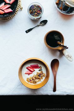 Chickpea Flour Does it All – Clumpy Granola with Stewed Rhubarb — My Blue&White Kitchen