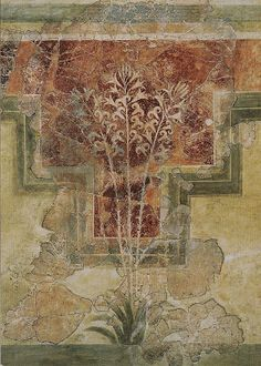 "Lilly fresco. 1500 BC. Found in ""House of the Lilies"" at Amniso, Crete. Currently in the Heraklion Archaeological Museum."