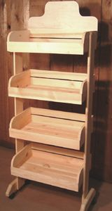 Wooden 4 Crate Rack With Casters | Produce Display
