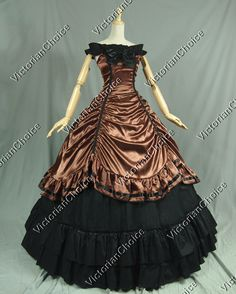 Southern Belle Civil War Brown and Black Period Dress Ball Gown Reenactment Costume from Victorian choice
