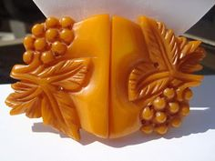 Heavily Carved Butterscotch Vintage Bakelite Belt Buckle