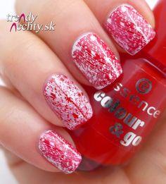 Valentine manicure, Red nail polish, pattern on nails