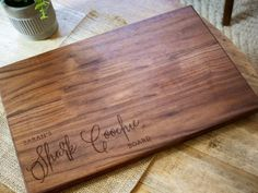 Personalized Bridal Shower Gifts, Personalized Cheese Board, Personalized Cutting Board, Custom Wedding Gifts, Cutting Board Oil, Wood Cutting Boards, Minwax Stain, Charcuterie Board, Bridal Showers