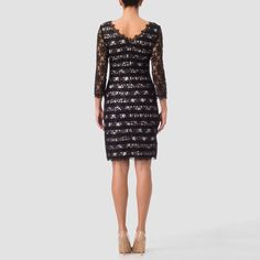 Banded beneath with attractive floral lace overlay, this Spring 2017 Joseph Ribkoff sheath dress comes unlined with rear-zip closure, three-quarter length sleeves, above-the-knee hem and scalloped bateau neckline. Joseph Ribkoff Dresses, Bateau Neckline, Lace Overlay, Floral Lace, Sheath Dress, Black And White, Formal Dresses, Sleeves, Polyvore
